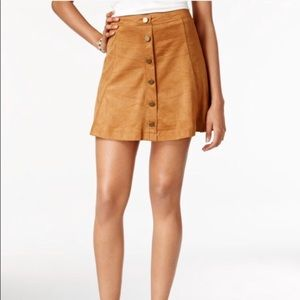 Faux suede button up mini skirt